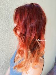 red fire balayage ombre hair using olaplex schwarzkopf red