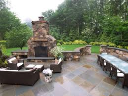 decorations elegant stone outdoor fireplace ideas with plaid