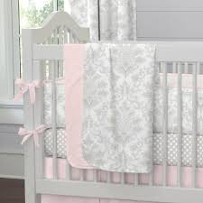 Pink And Grey Nursery Curtains by French Gray And Pink Damask Crib Bedding Carousel Designs