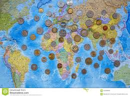 Countries Of The World Map by Coins Of Different Countries On The World Map Background Editorial