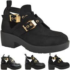 womens flat ankle boots size 9 womens cut out flats heel chunky buckle biker
