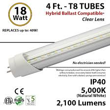 8 Foot Led Tube Lights 4 Ft Led Tube Hybrid Ballast Compatible 5000k Replace Fluorescent