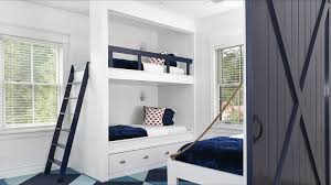Rails For Bunk Beds White Built In Bunk Beds With Navy Safety Rail Cottage Boy S Room