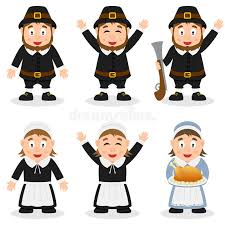 thanksgiving day pilgrim characters set stock vector image 45264796