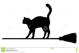 silhouette of black cat on broomstick stock vector image 77923497