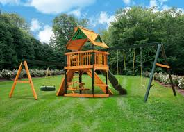 frontier swing set w wood roof made in u s a duchess outlet