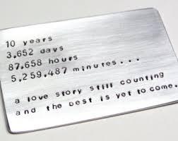 9 year anniversary gift ideas for him 10 year anniversary wallet card insert ten tin year gift