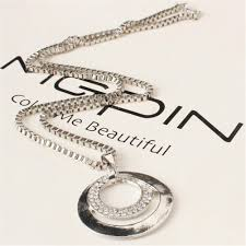 double circle long necklace images Beautiful long chain necklaces fashion crystal rhinestone silver jpg