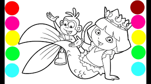 dora the explorer beautiful mermaid coloring book pages for kids