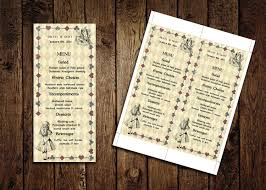 printable menu card template alice in wonderland wedding