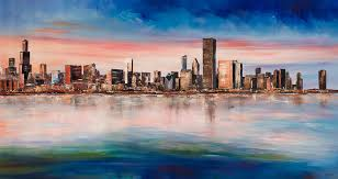 chicago skyline painting chicago skyline at dusk by manit