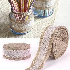 jute ribbon 10m lace edge hessian burlap jute ribbon with white lace
