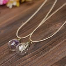 retro vintage flower light bulb pendant chain necklace at