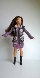 curvy barbie vest hood dark blue skull motifs