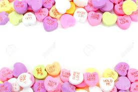valentines heart candy sayings edge border of valentines day candy hearts white stock