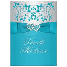 Silver Wedding Invitations Wedding Invitation Turquoise Silver Floral Printed Ribbon