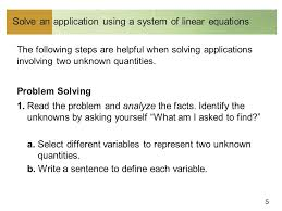 5 solve an using a system of linear equations the following steps are helpful when