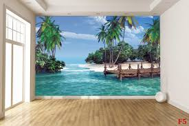 mural tropical coast with a bridge 3d effect wallpapers mural tropical coast with a bridge 3d effect