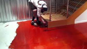 Epoxy Floor Paint Installing Red Epoxy Flooring System Youtube