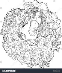 portrait horse clouds roses coloring page stock vector 452482138