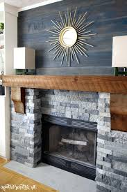 wood mantel fireplace modern insert trim white with stone