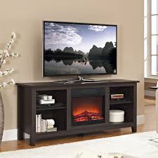 furniture black wooden tv stand with fireplace and shelves also