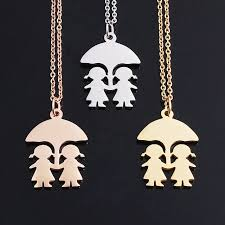 gold friend necklace images Buy fashion gold friend two girls under umbrella jpg