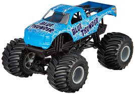 monster truck games videos for kids amazon com wheels monster jam blue thunder die cast vehicle