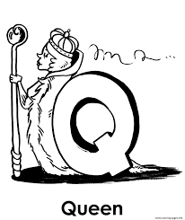 q for queen alphabet s72b8 coloring pages printable