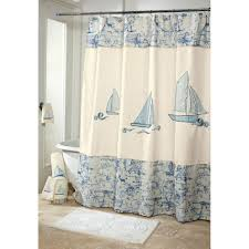 bathroom ideas nautical bathroom decor for kids with mosaic floor vintage nautical bathrooom decor with freestanding bathtub and ship patterned shower curtain on cream marble