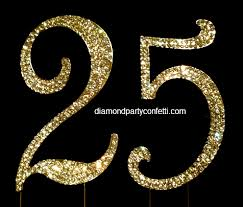 25 cake topper gold rhinestone number 25 25th anniversary birthday cake