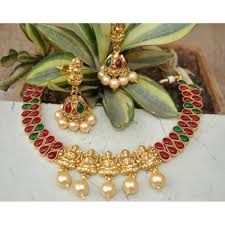 indian necklace set images South indian red green stone temple necklace set jpg