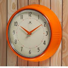 orange fifties style kitchen wall clock infinity wall clocks