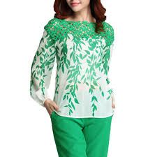 green blouses vintage sleeve chiffon blouse embroidery floral green