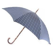 Striped Canopy by Mario Talarico Navy Striped Canopy Umbrella With Light Chestnut