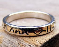 stackable engraved mothers rings memory ring etsy