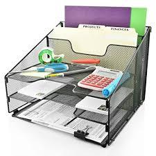 Black Wire Mesh Desk Accessories Desk Organizer File Holder All In One With Non Slip