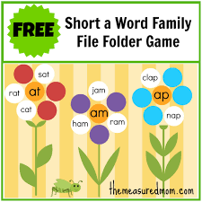 free word family file folder game short a the measured mom