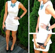 white peplum dress with turquoise and black accessories pumps u0026 iron