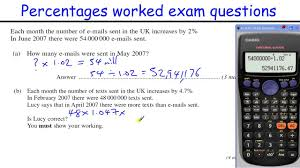 Functional Math Worksheets How To Do Percentages Gcse Maths Revision Higher Level Worked Exam