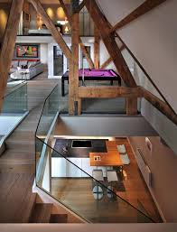glass balustrading stairs beams st pancras penthouse apartment