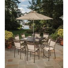 11 piece aluminum outdoor bar height dining set and umbrella