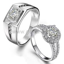 wedding rings for couples engravable sterling silver synthetic diamond engagement couples