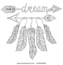 coloring pages of indian feathers boho chic ethnic dream arrow feathers stock vector 548602969