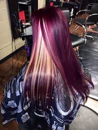 hair by heather red violet with blonde peekaboos hair by