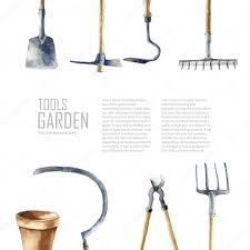 watercolor garden tools set u2014 stock vector vikeriya 84724138