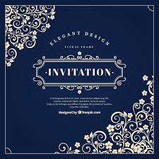 vintage invitation with floral ornaments vector free