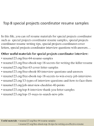 Project Coordinator Resume Examples Top8specialprojectscoordinatorresumesamples 150518131956 Lva1 App6891 Thumbnail 4 Jpg Cb U003d1431955245