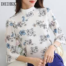 floral chiffon blouse dhihkk 2017 summer floral chiffon blouse tops flare sleeve