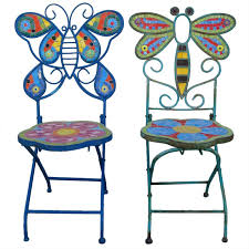Butterfly Folding Chair Pair Of Folding Butterfly Dragonfly Mosaic Chairs At 1stdibs